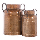 Antique Gold Metal Milk Cans